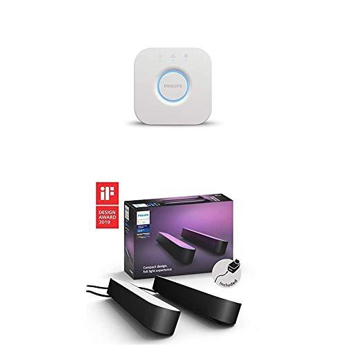 Pack de 2 lampes connectées Philips Hue White & Color Ambiance Play 6,6 W + Pont de connexion - Noir - Fonctionne avec Alexa