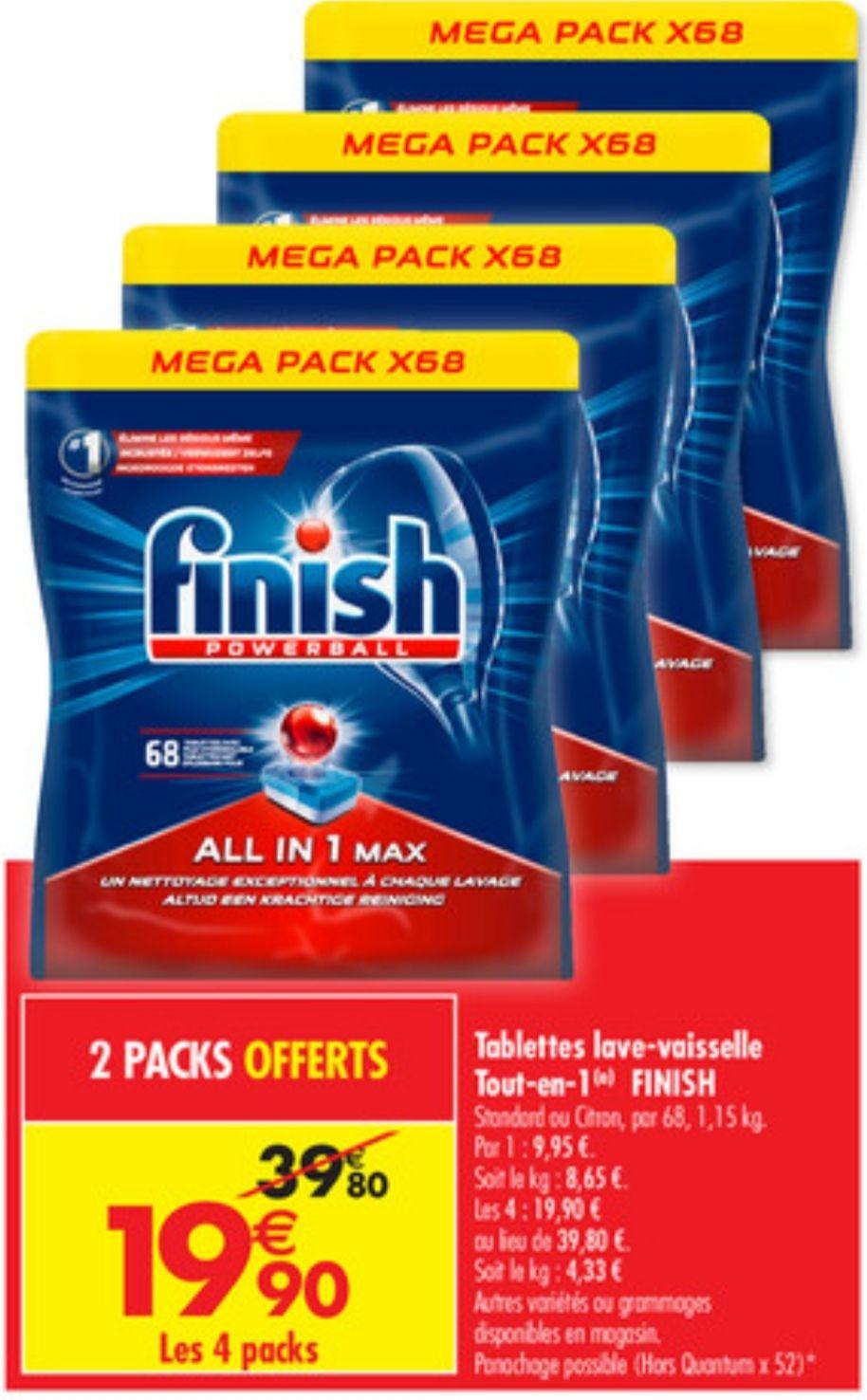 4 Mega Packs de 68 tablettes lave-vasselle Finish Powerball All In 1 Max Classic ou Citron - Soit 272 tablettes