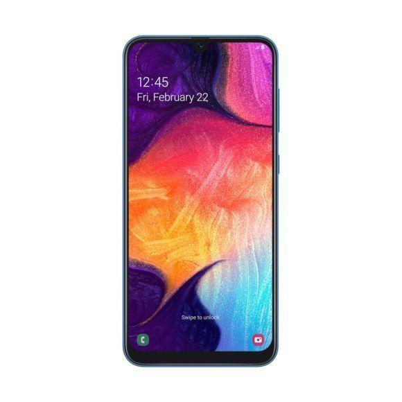 """Smartphone 6.4"""" Samsung Galaxy A50 (A505FD) - Dual SIM, 4 Go de RAM, 64Go de ROM, Bleu (vendeur tiers)"""
