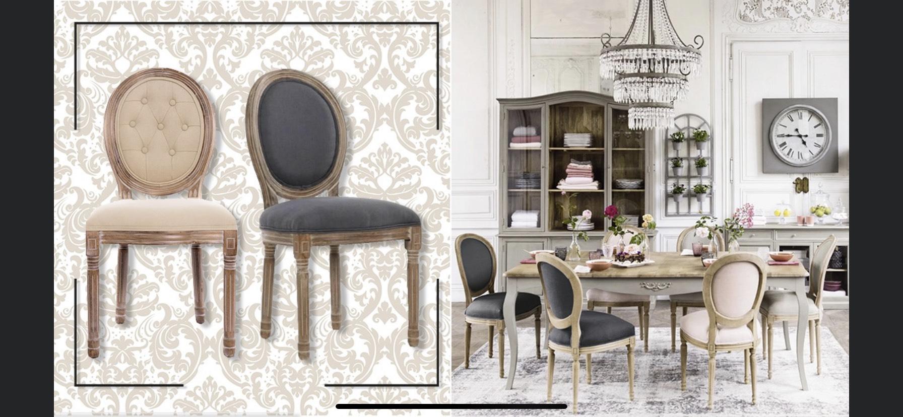 Chaise médaillon - Style Louis XVI ou velours gris - Chêne massif