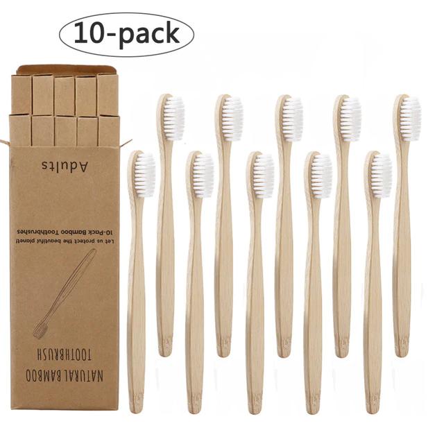 Lot de 10 brosses à dents en bambou (plusieurs coloris)