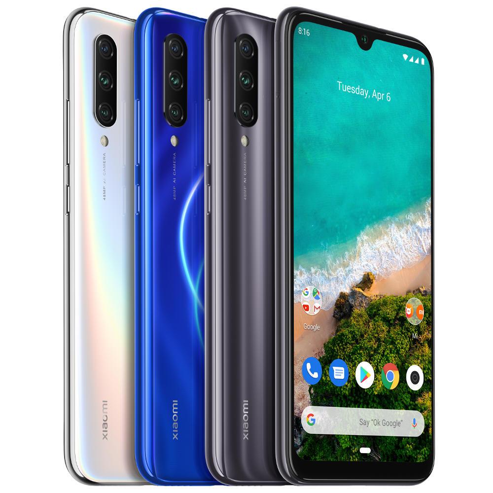 "Smartphone 6.09"" Xiaomi Mi A3 - HD+, SnapDragon 665, RAM 4 Go, 128 Go, 4G (B20), Bleu / Noir"