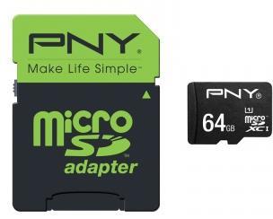 Carte microSDXC PNY High Performance (jusqu'à 80 Mo/s) - 64 Go