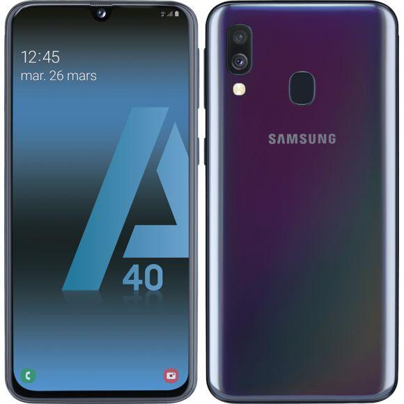 """Smartphone 5.9"""" Samsung Galaxy A40 - 64 Go, Noir (vendeur tiers)"""