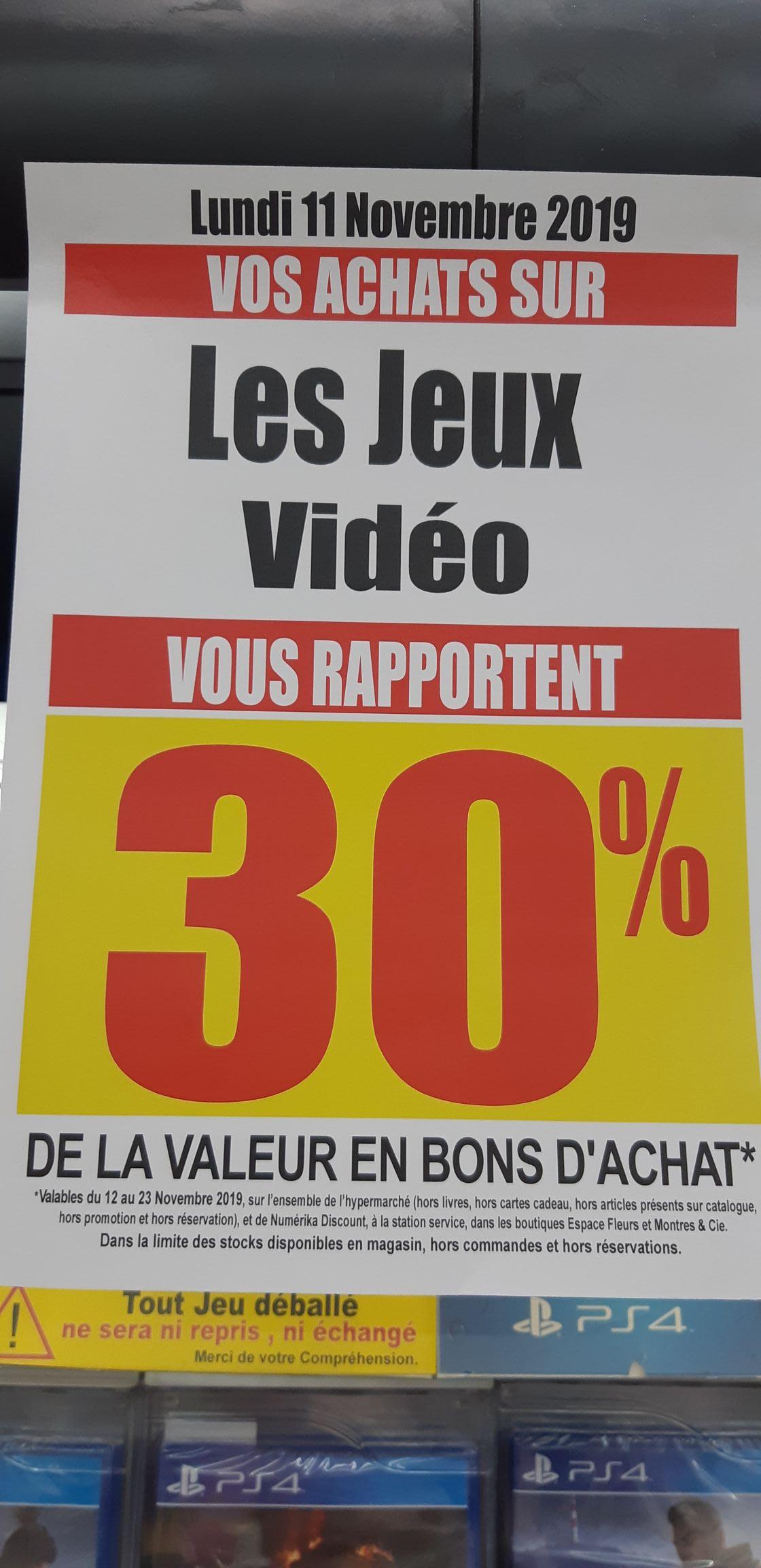 30% remboursés en bon d'achat sur les Jeux Vidéo - Bollène (84)