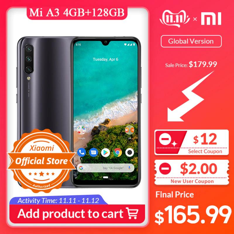 """Smartphone 6.1"""" Xiaomi Mi A3 - 4Go de RAM, 128 Go, Version Globale - Noir"""