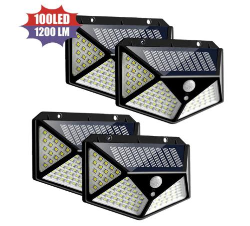 Lot de 4 lumières solaires d'extérieur - 100 LED, 1200 lumens