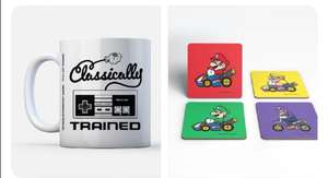 4 Dessous de verre + 1 Mug Nintendo au choix parmi 4