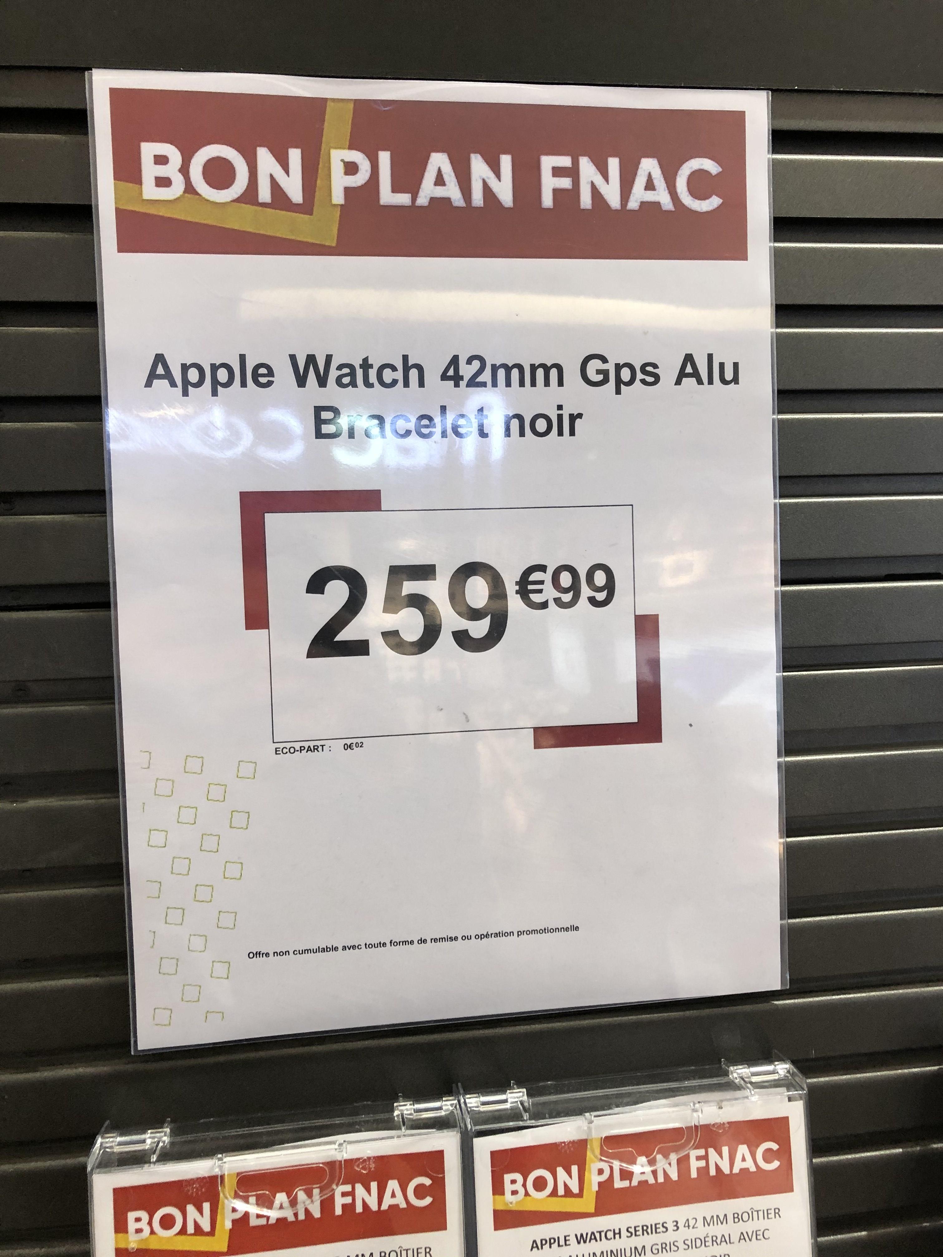 Montre connectée Apple Watch Series 3 GPS (42 mm, bracelet noir) - Paris Ternes 17ème (75)
