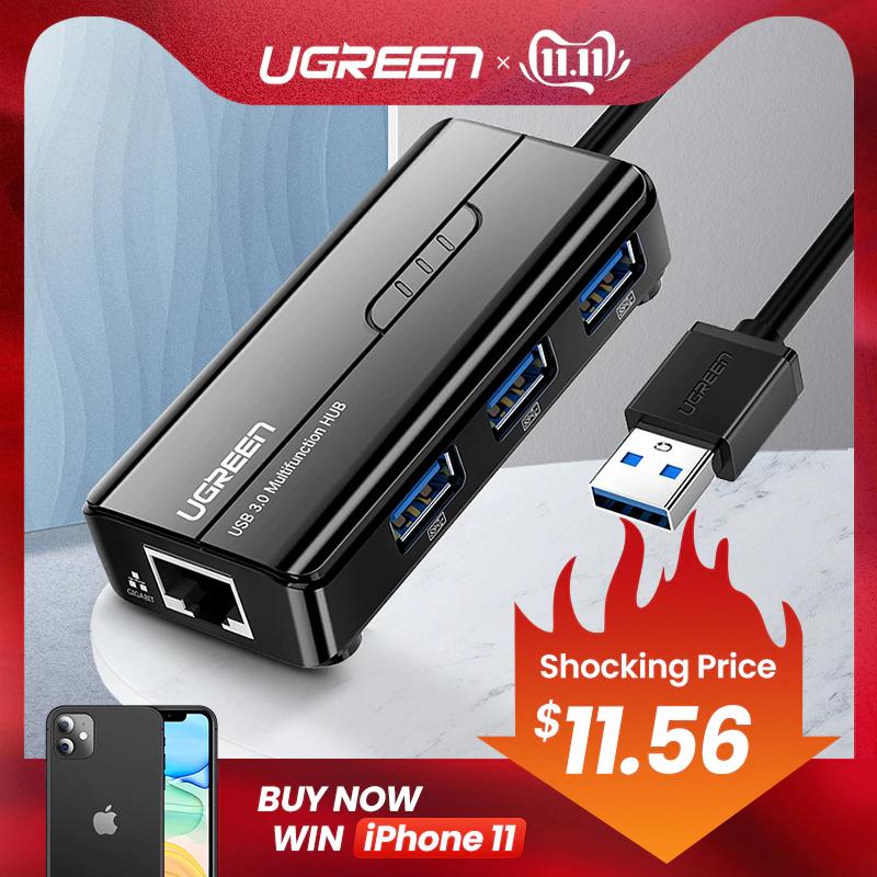 Hub USB 3.0 Ugreen - 3 Ports USB 3.0, 1 Port RJ45 Gigabit