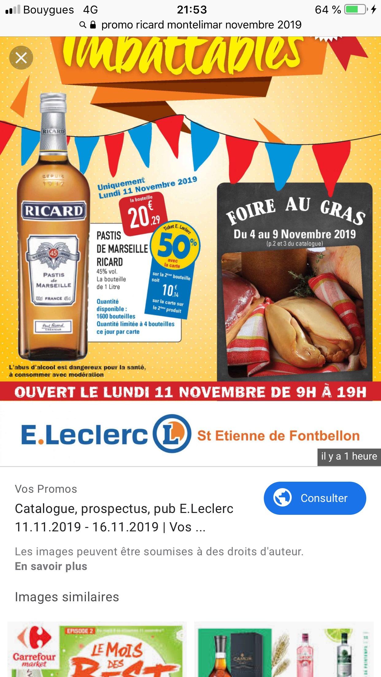 Bouteille de Ricard - 70cl (Via Carte de Fidélité) - Saint-Étienne-de-Fontbellon (07)