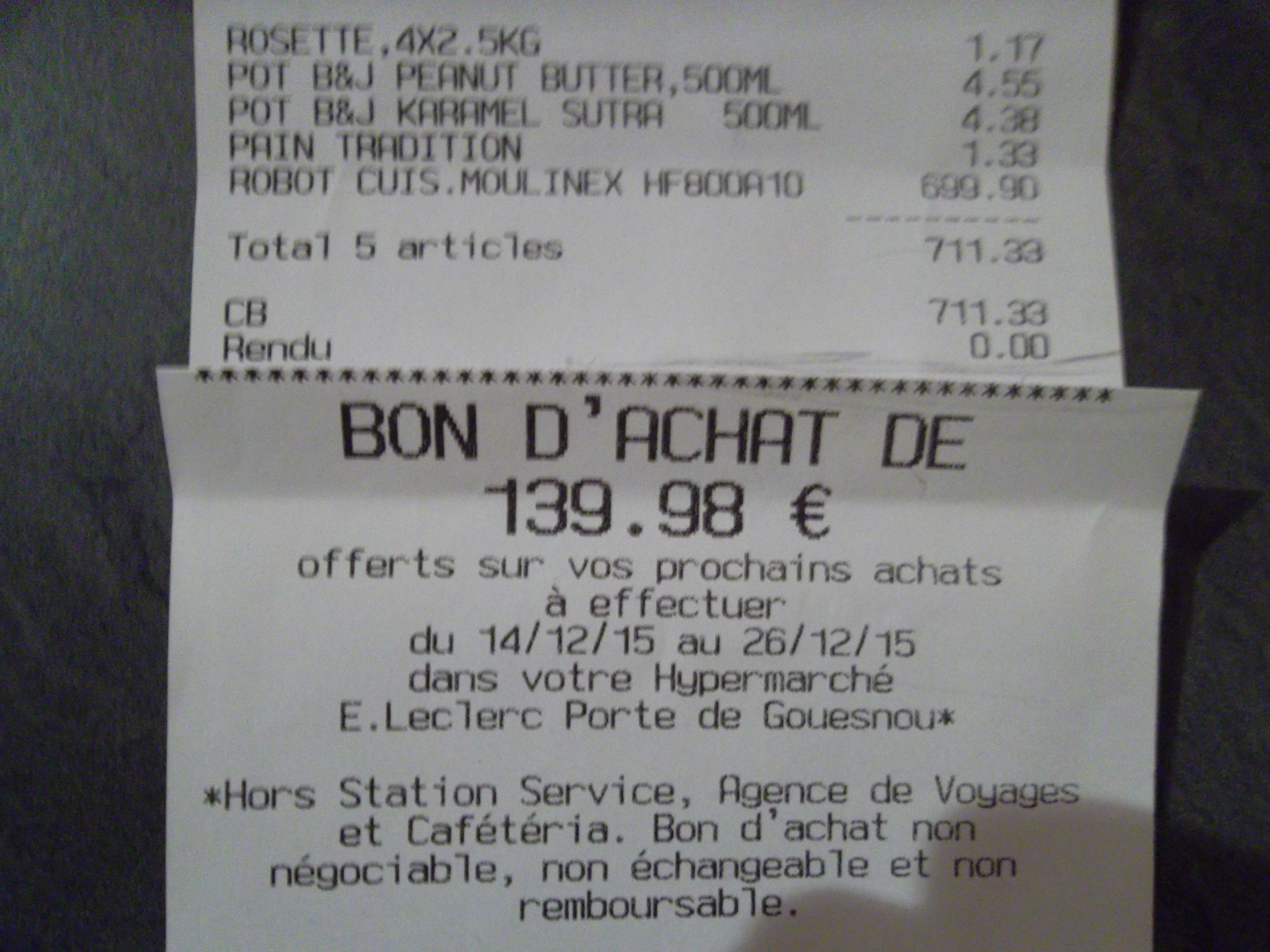 Robot cuiseur Moulinex Companion HF800A (139.98€ sur la carte)