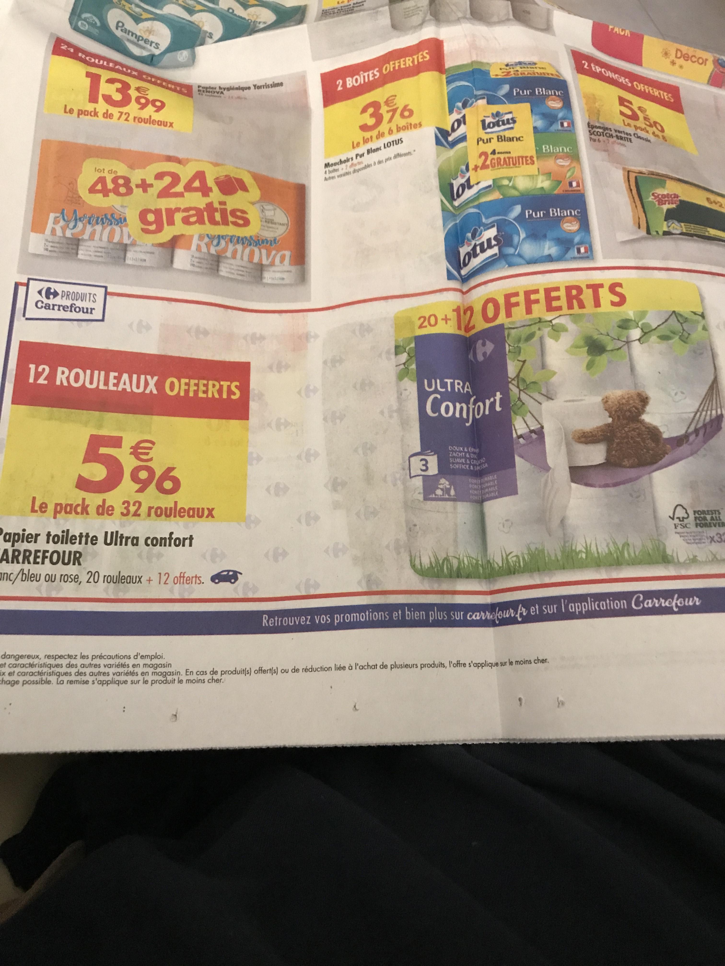 Pack de 32 rouleaux de papier toilette Carrefour Ultra confort