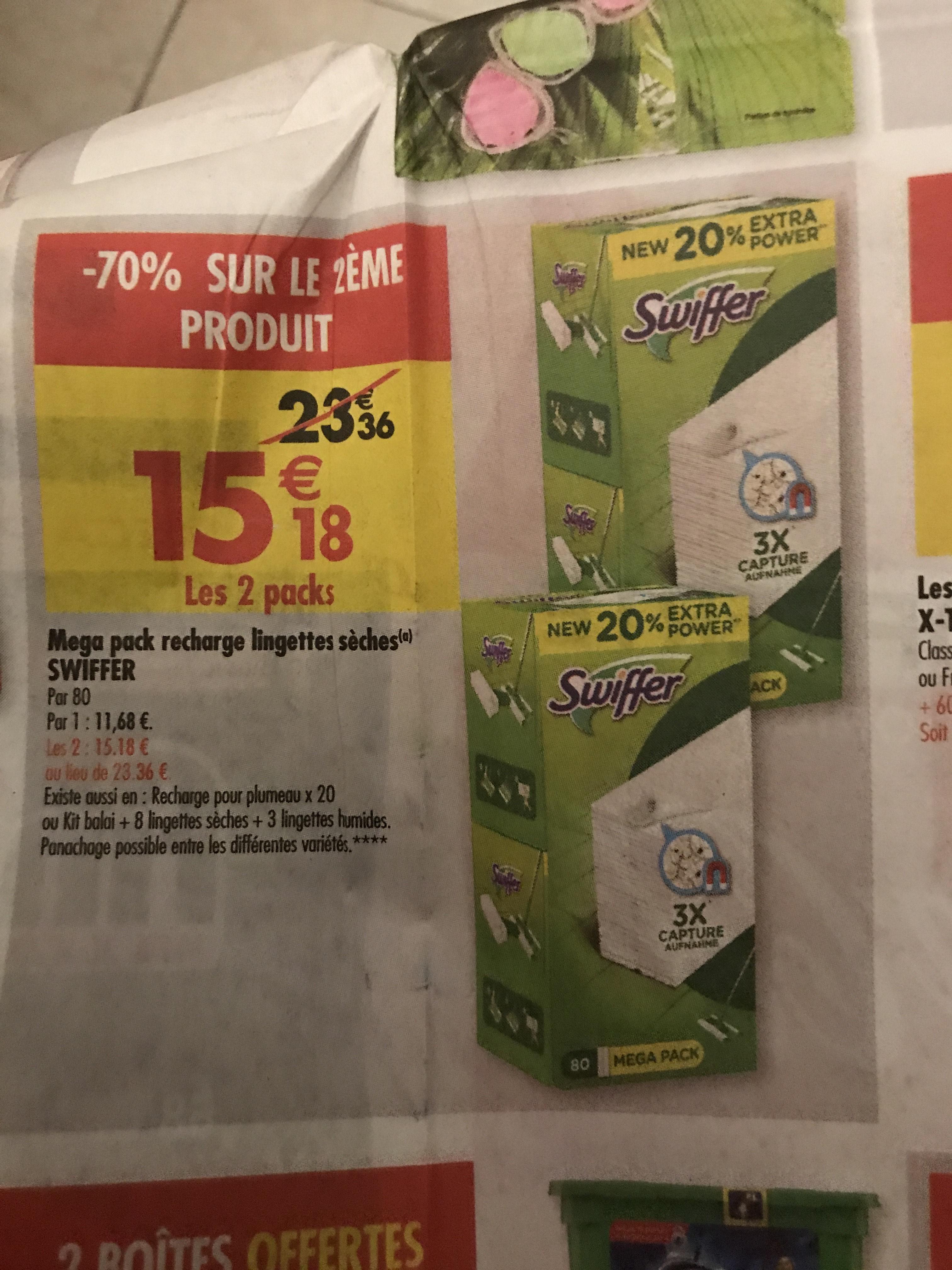 Lingettes Swiffer le 2 ème paquet à moins 70%