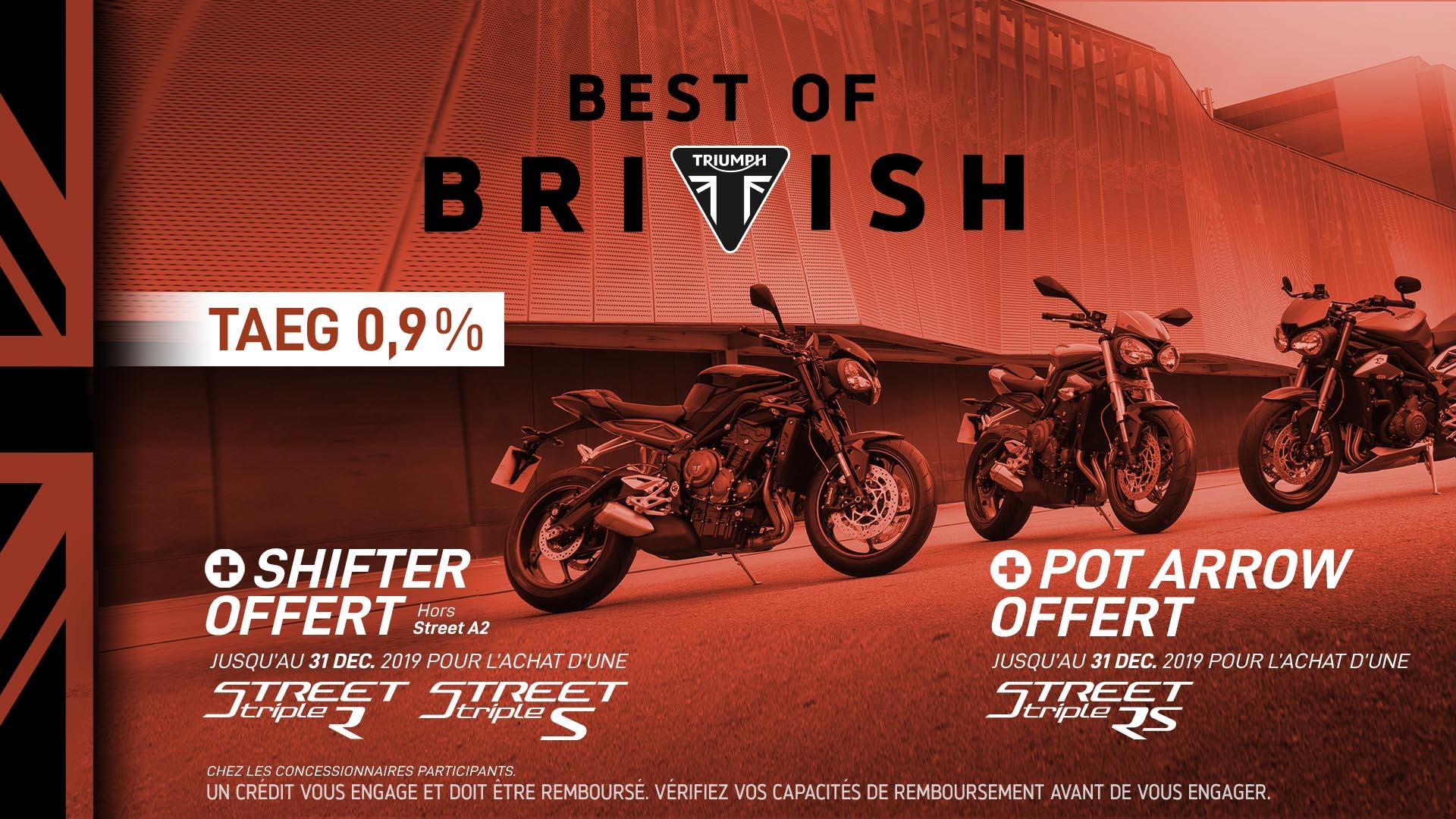 Shifter ou Pot Arrow offerts pour 1€de plus sur une sélection de modèles (triumphmotorcycles.fr)