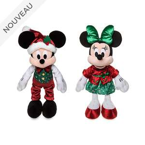Peluches Mickey et Minnie, collection Holiday Cheer (48cm haut)