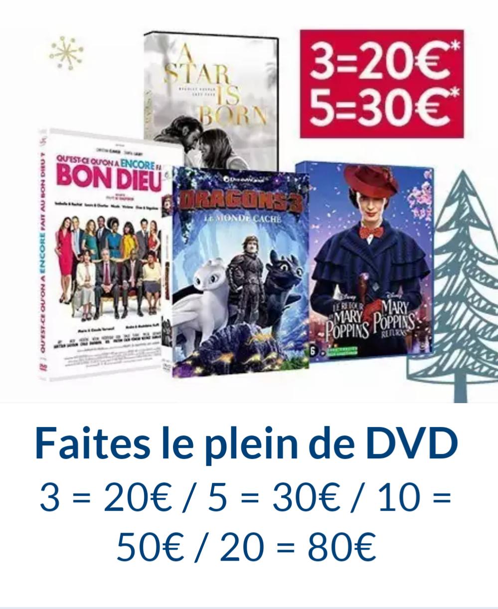 3 DVDs parmi une sélection pour 20€, 5 pour 30€ et 20 DVDs pour 80€