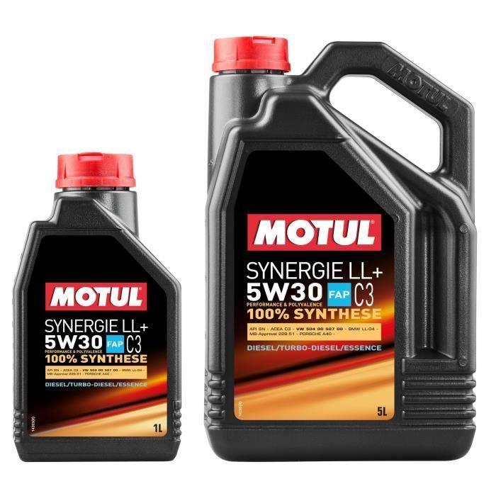 Pack Huile moteur Motul Synergie LL+ 5W30 - 5 + 1L