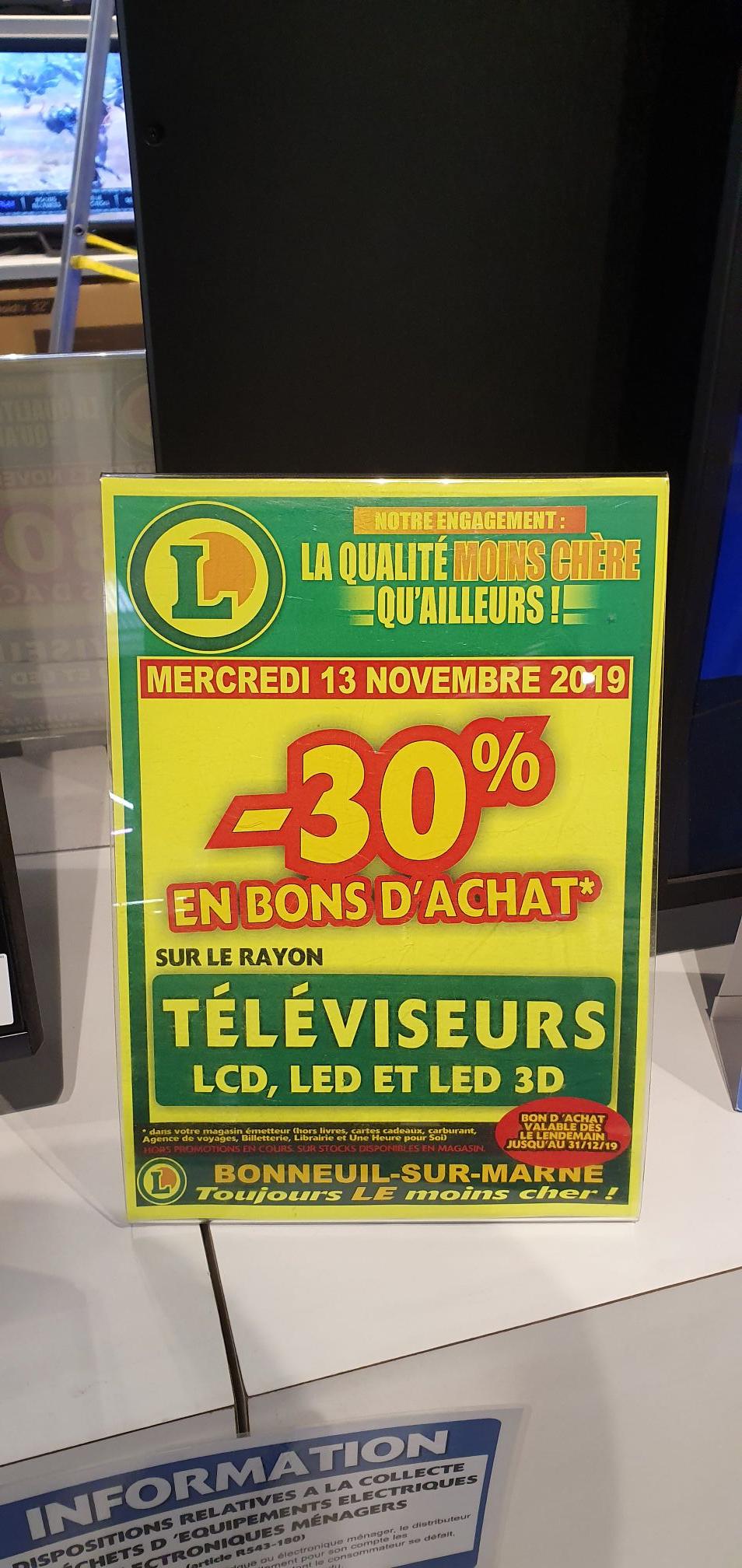 30% remboursés en Bon d'achat sur les Téléviseurs (Bonneuil 94)