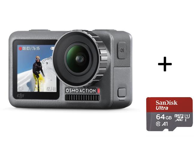 Caméra sportive DJI Osmo Action + Carte Micro Sandisk ultra Plus 64 Go
