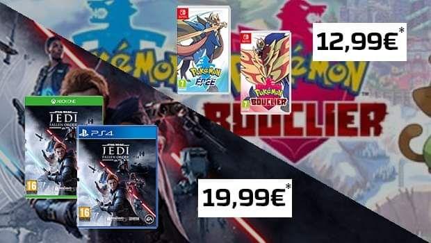 Pokémon Épée / Bouclier sur Switch à 12,99€ ou Star Wars Jedi Fallen Order à 19,99€ sur PS4 pour la reprise d'un jeu parmi une liste