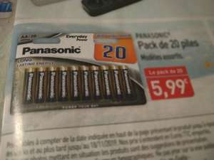 Pack de 20 piles alcalines AA Panasonic Everyday Power