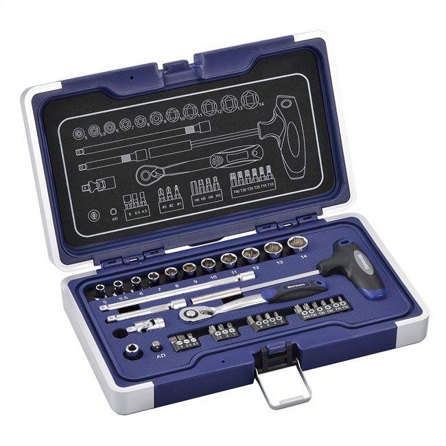 Coffret clé à cliquet carré 1/4'' + douilles 6 pans 5-14 mm et embouts - 34 pièces