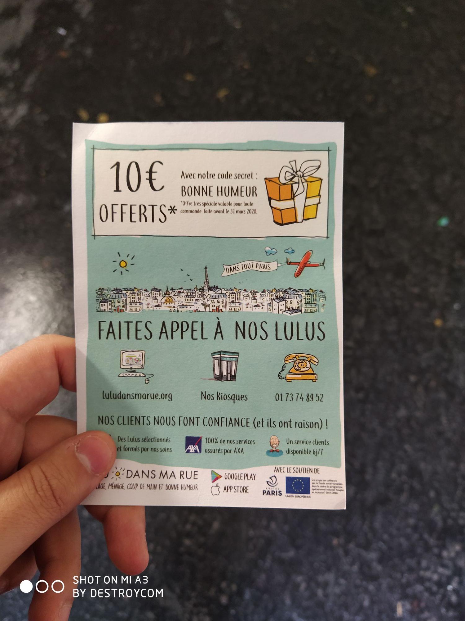 10€ de réduction sur toutes les prestations de service à Paris (75) - LuluDansMaRue.org