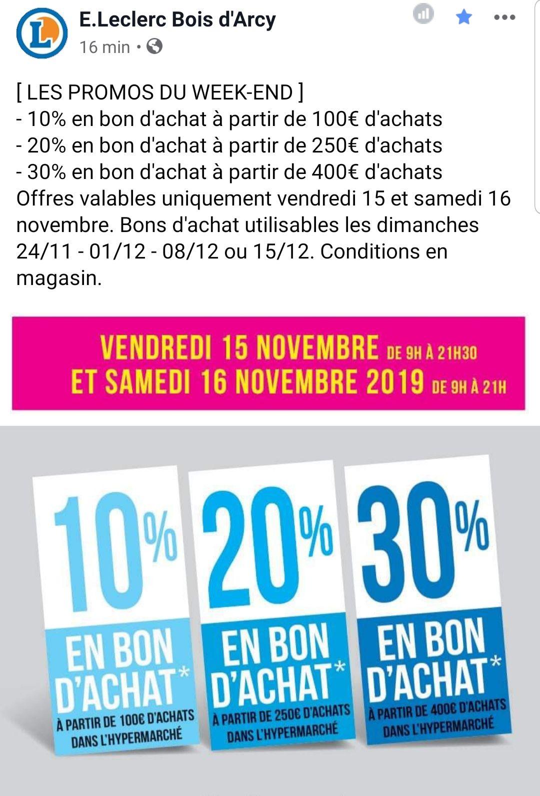10% remboursés en bon d'achat dès 100€ d'achat, 20% dès 250€ d'achat et 30% dès 400€ d'achat - Bois-d'Arcy (78)