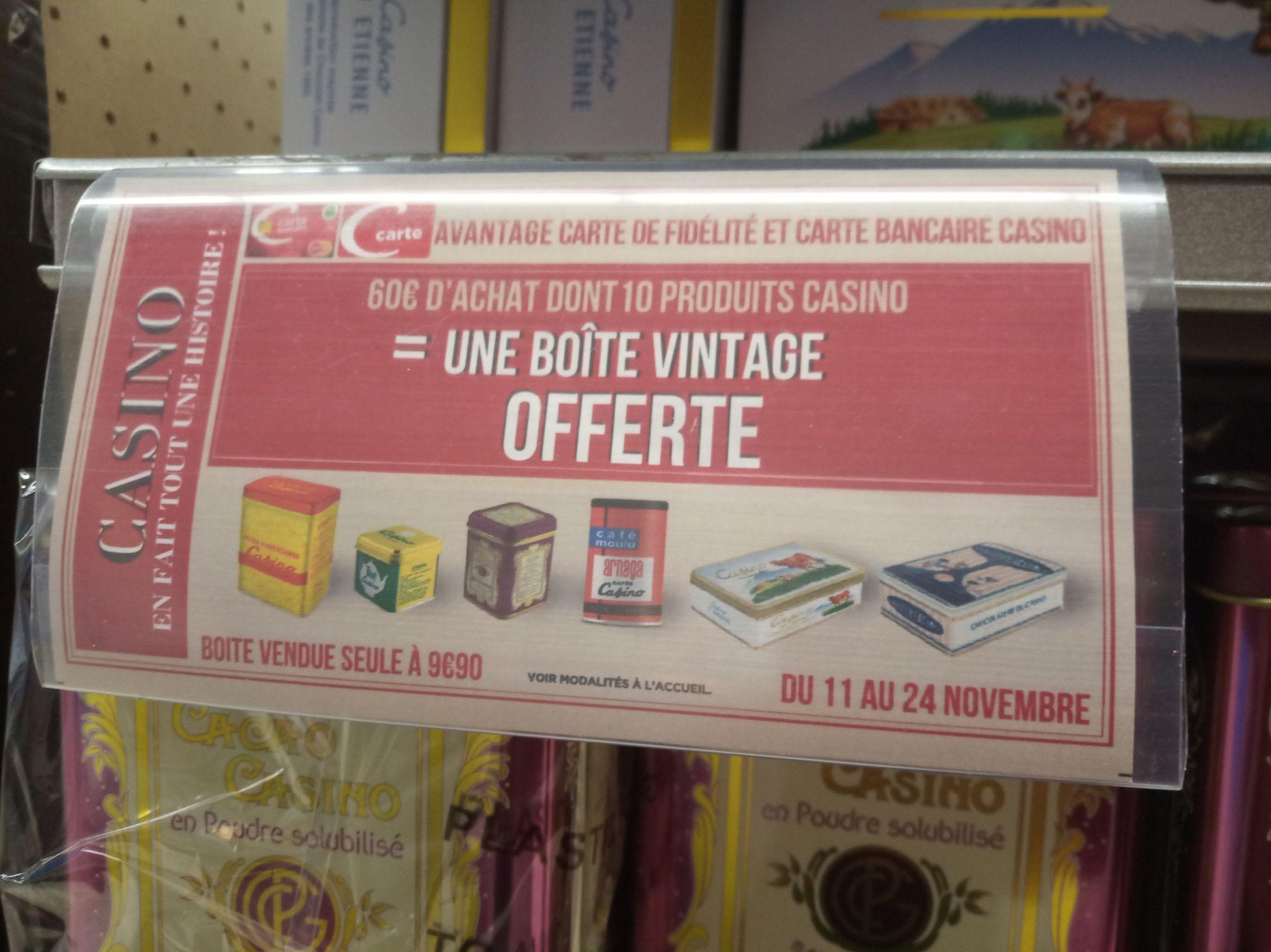 [Carte fidélité ou bancaire Casino] Une boite vintage offerte dès 60e d achat dont 10 produits casino - Géant Casino )