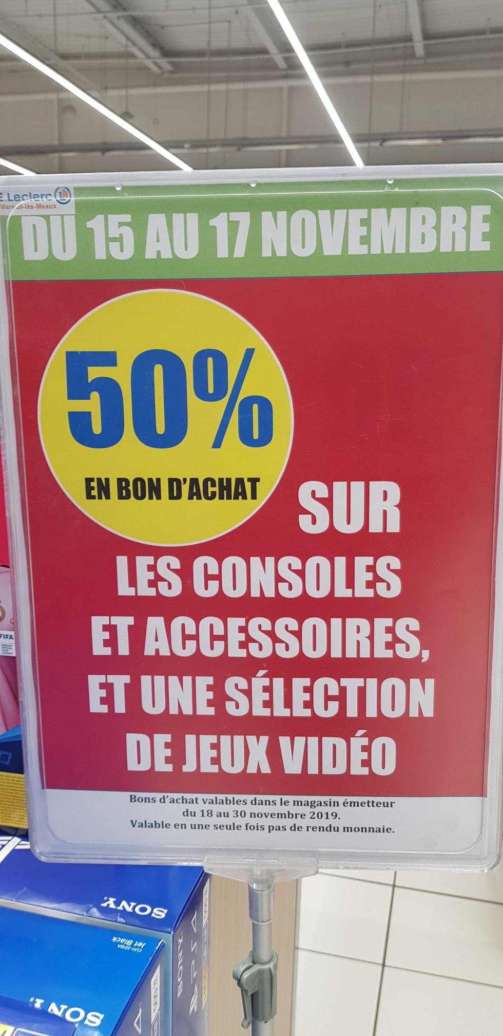50% offerts en bons d'achats sur toutes les consoles - Ex: Console Nintendo Switch (via 164.95€ en bon d'achat) - Mareuil les Meaux (77)