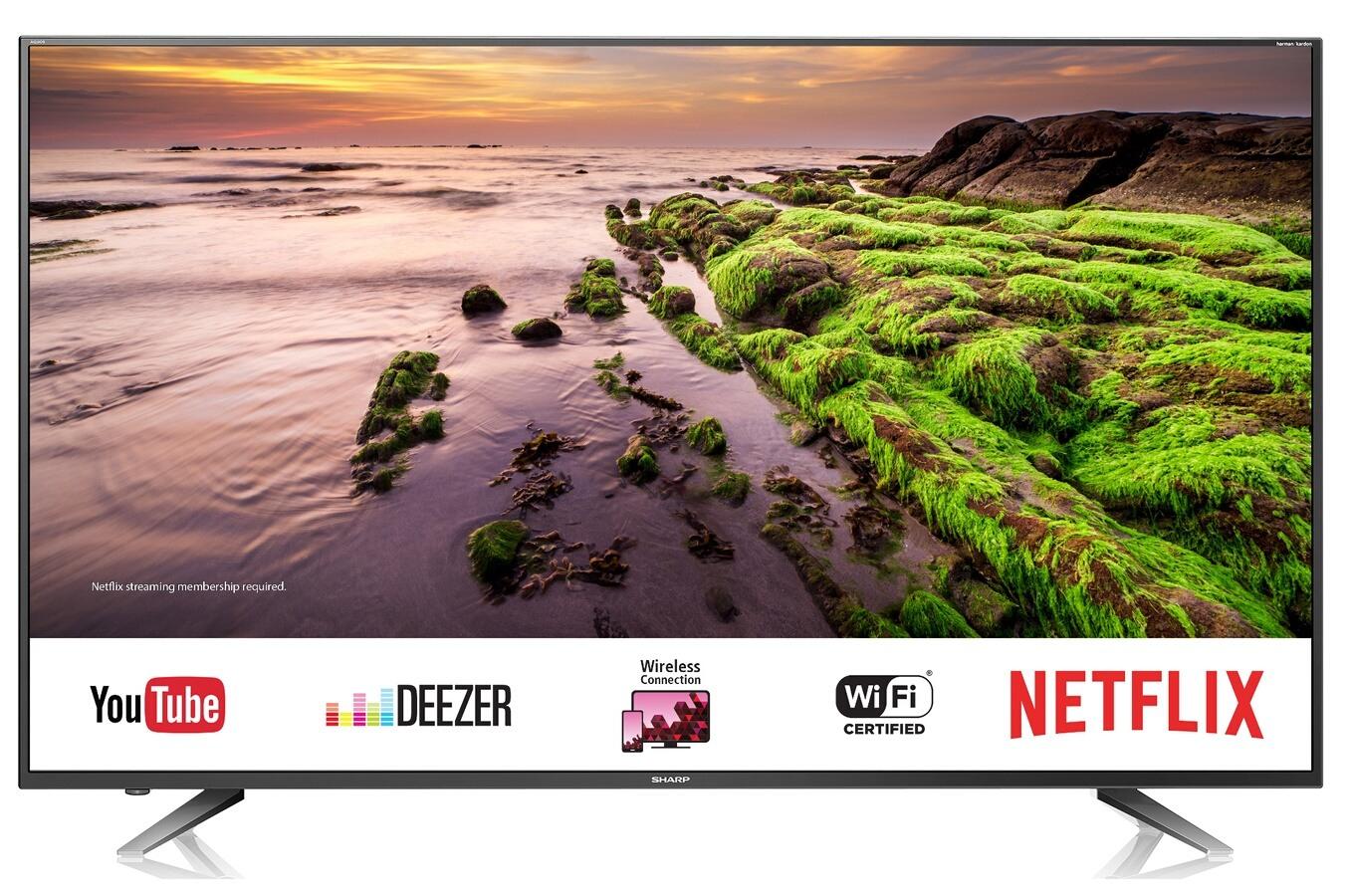 """TV 70"""" Sharp LC-70UI7652E - LED, 4K UHD, HDR, 400 Hz Active Motion, Enceintes Harman Kardon, Smart TV"""