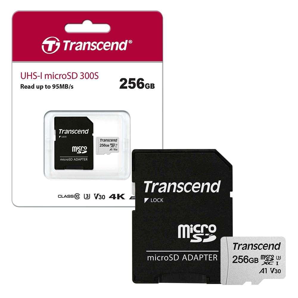 Carte Mémoire Micro SD Transcend - 256 Go, UHS-I U3 V30 A1 Class 10 avec Adaptateur SD