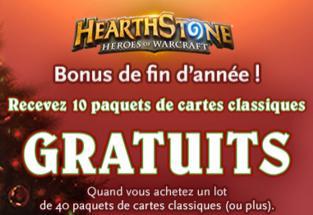 10 paquets de cartes classique HearthStone offerts pour l'achat de 40 paquets