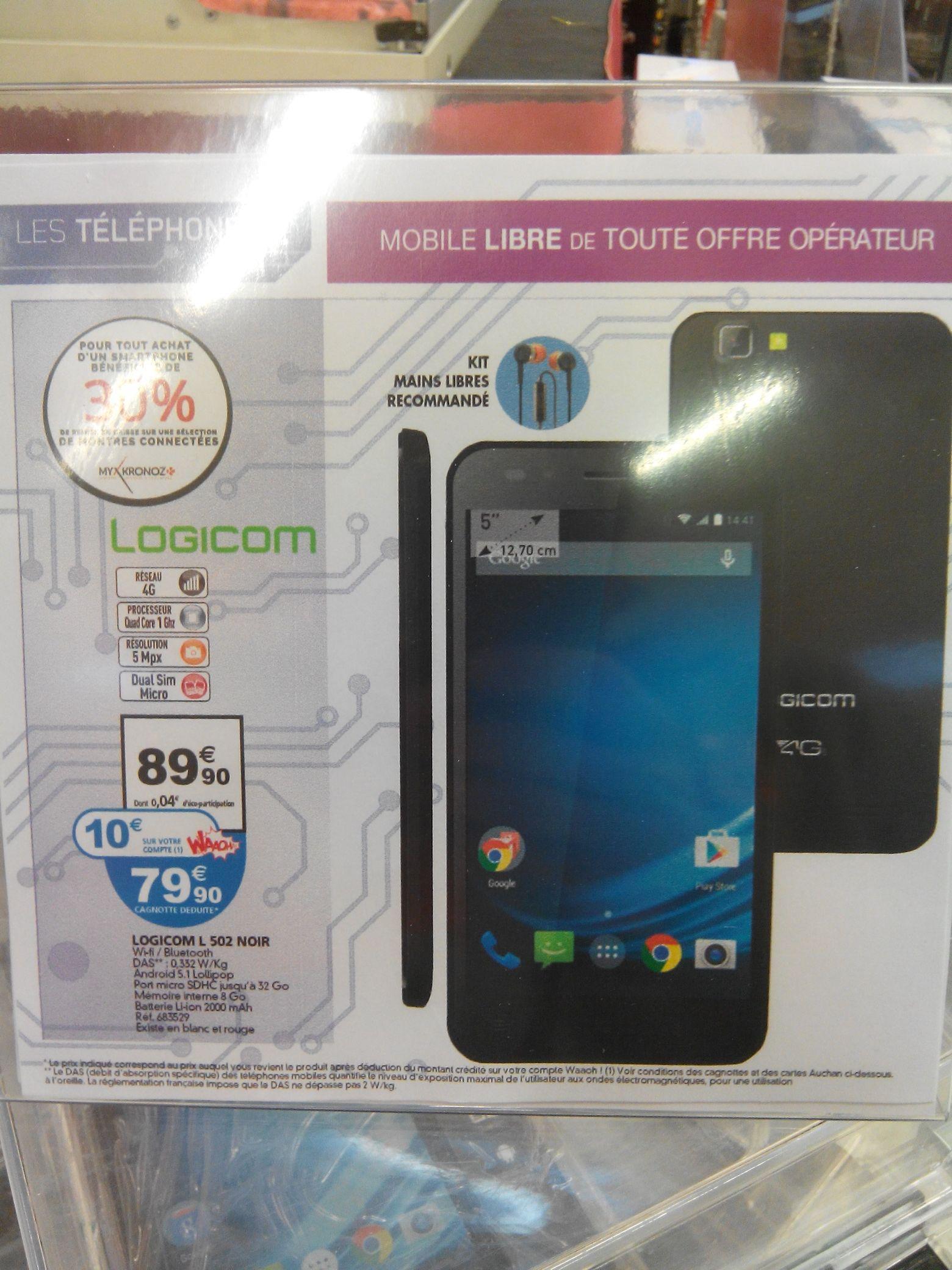 """Smartphone 5"""" Logicom L502 4G - Noir (avec 10€sur la carte)"""