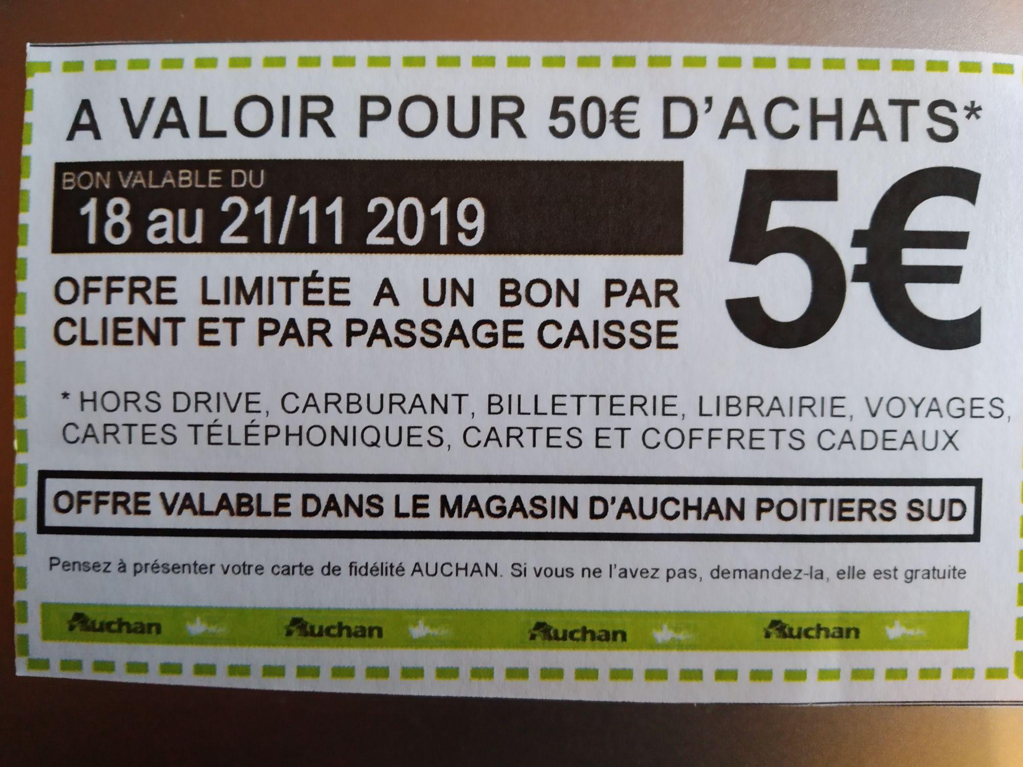 5€ de réduction dès 50€ d'achat pour tout passage à la station essence - Poitiers Sud (86)