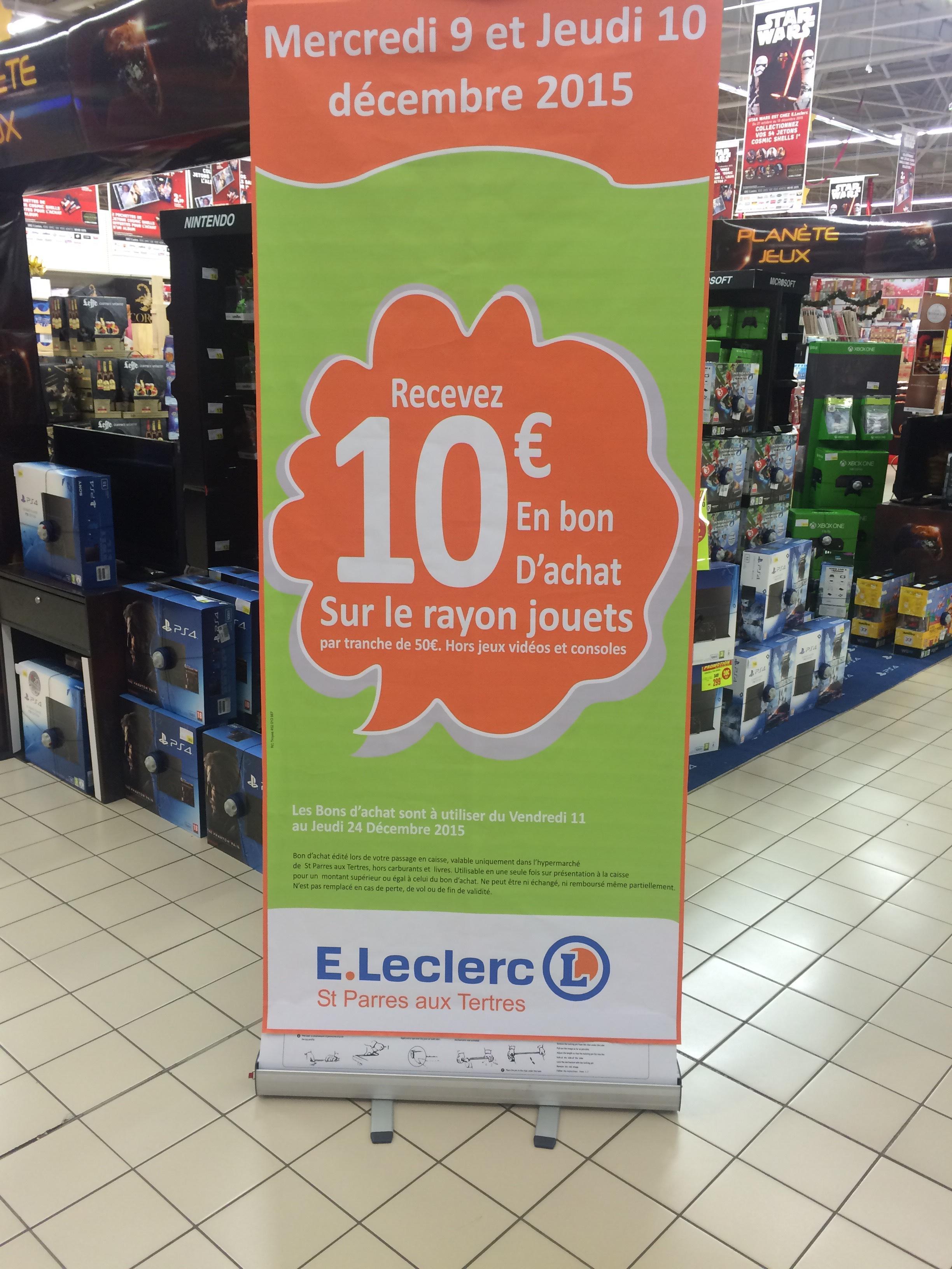 10€ de réduction par tranche de 50€ sur les jouets