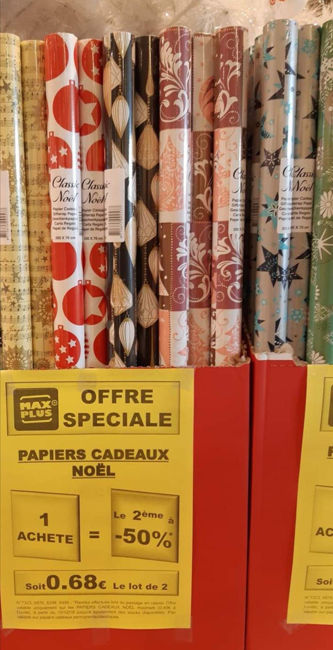 Lot de 2 rouleaux de papier cadeau (200x70cm)