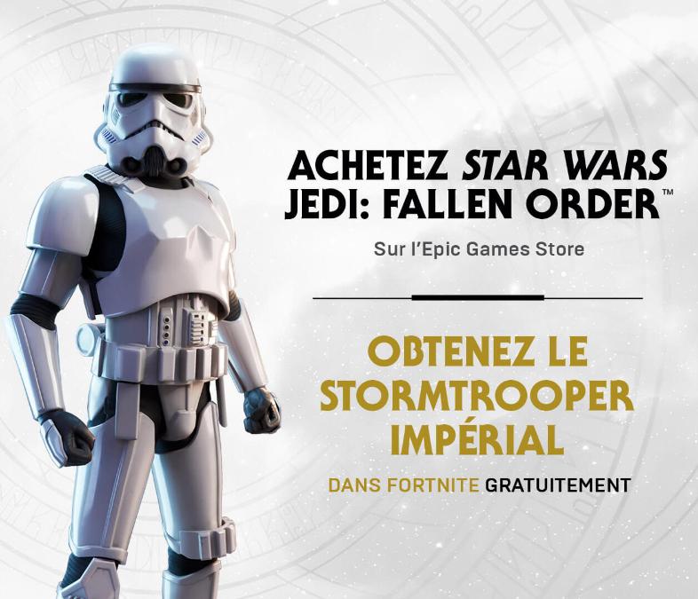 Skin Stormtrooper Impérial offert sur Fortnite pour tout achat du jeu Star Wars Jedi: Fallen Order (Dématérialisé)