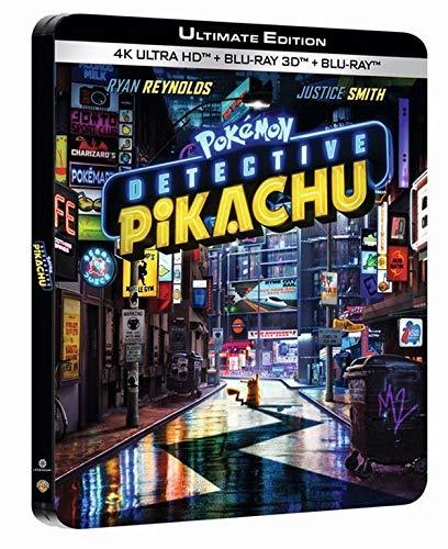 Coffret Blu-Ray 4K-UHD + 3D + 2D Pokémon Détective Pikachu - Edition Limitée, Boîtier SteelBook