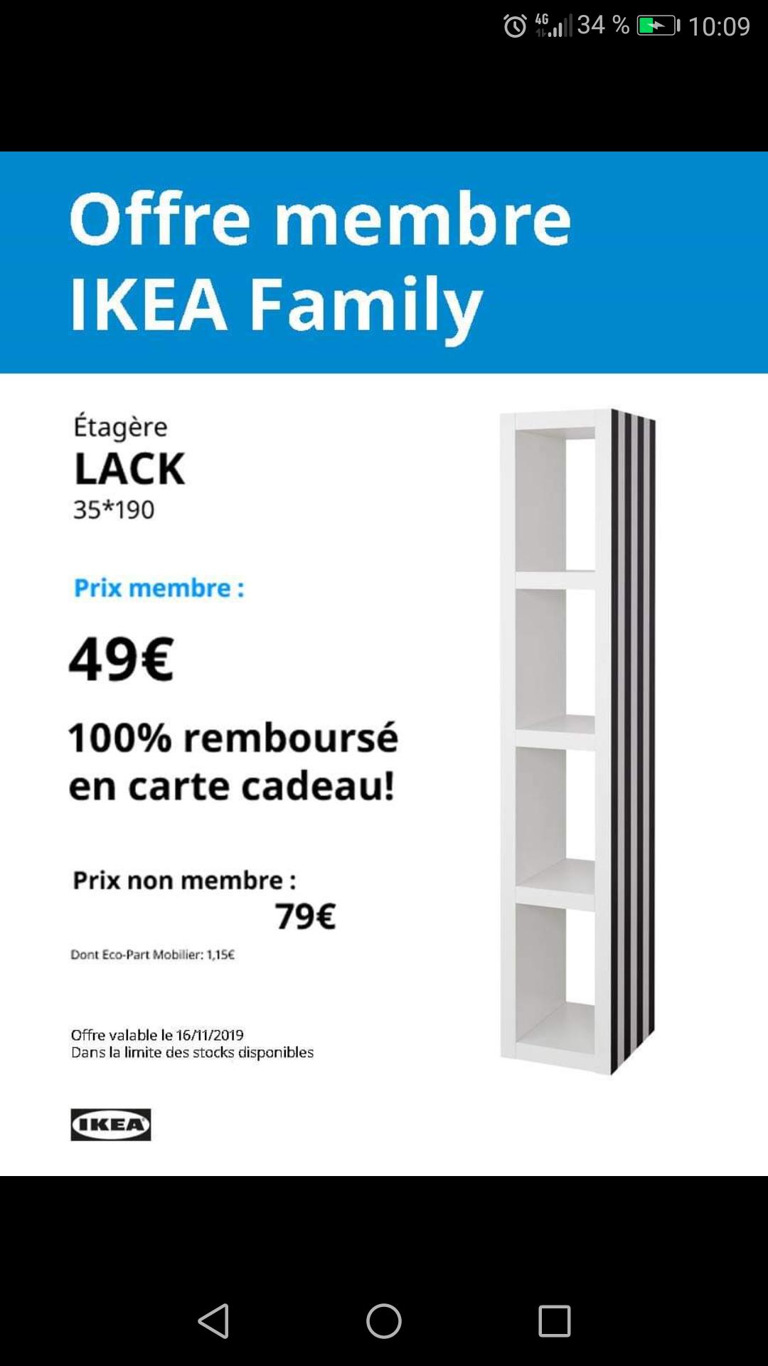 [Ikéa Family] Étagère Lack - 35 x 190 cm (100% remboursée en carte cadeau)
