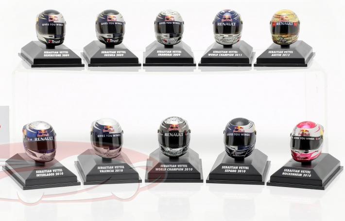 Set de casque de Sebastian Vettel - Saisons 2009 à 2012, Echelle 1/8ème (ck-modelcars.de)