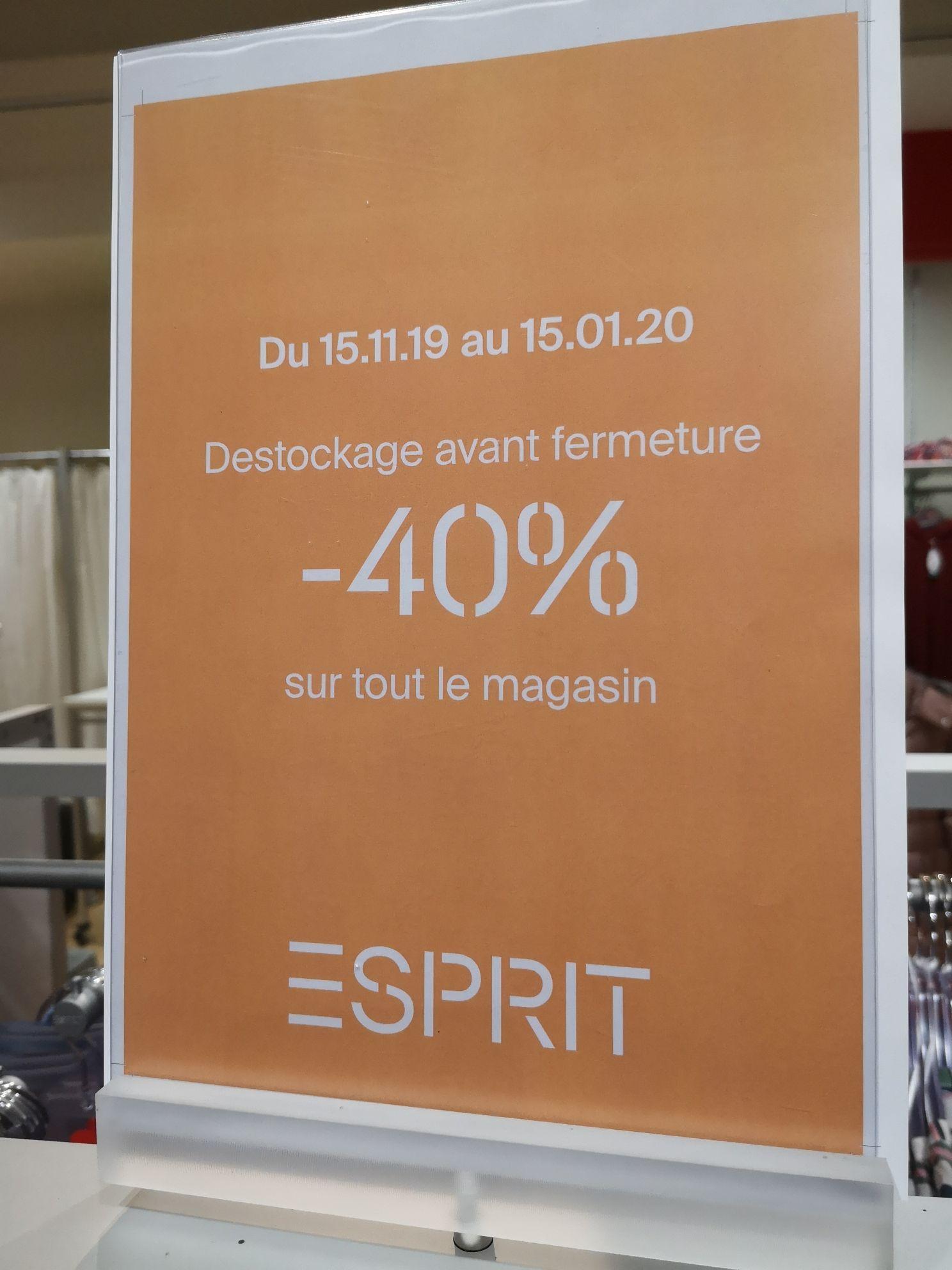 40% de réduction sur tout le magasin Esprit - Aubiere (63)