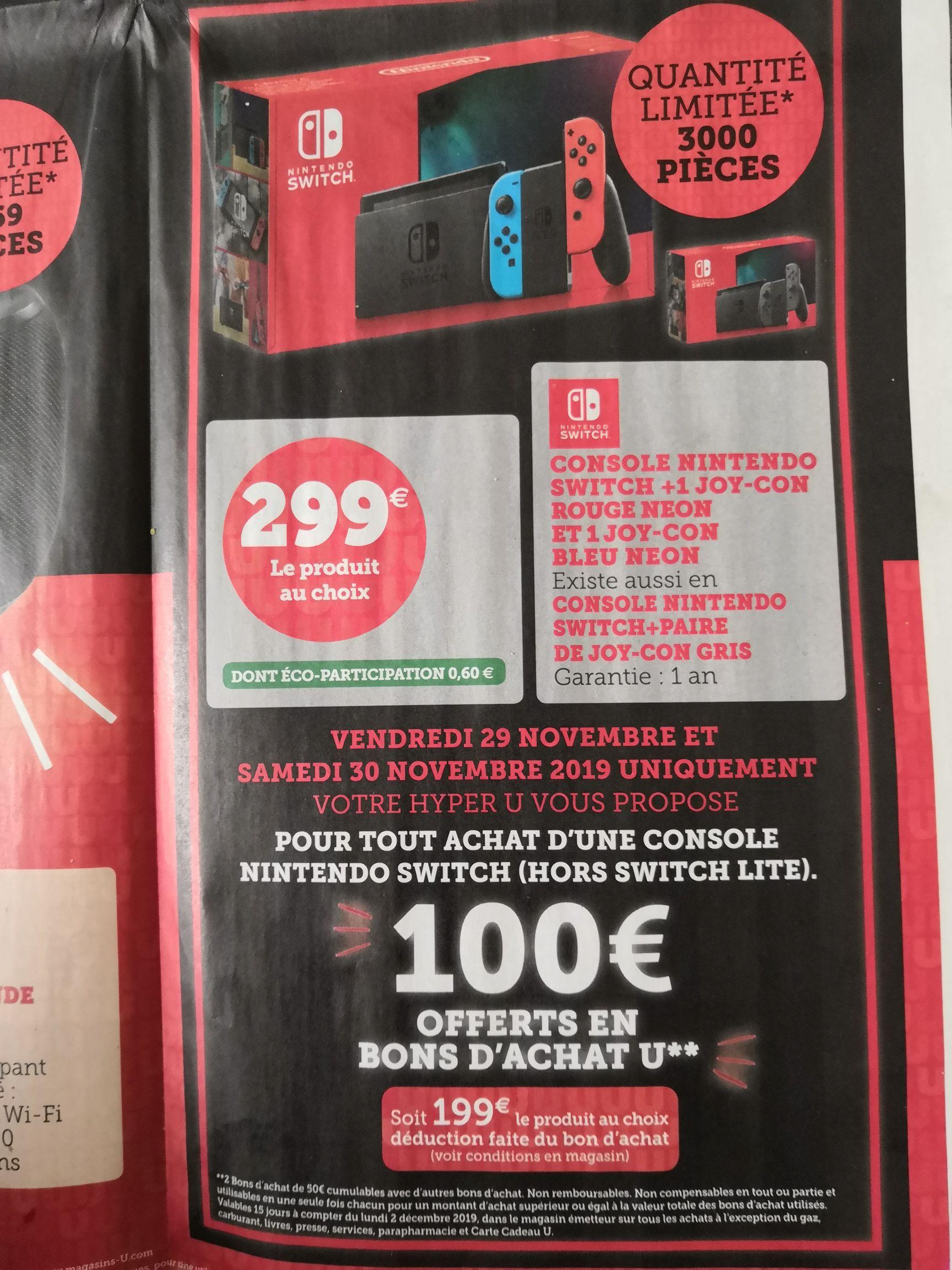 Console Nintendo Switch (Via 100€ en Bon d'achat)
