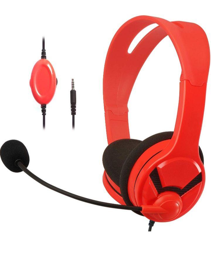 Casque audio filaire AmazonBasics pour PC, PS4, Switch et Xbox One - avec micro, rouge