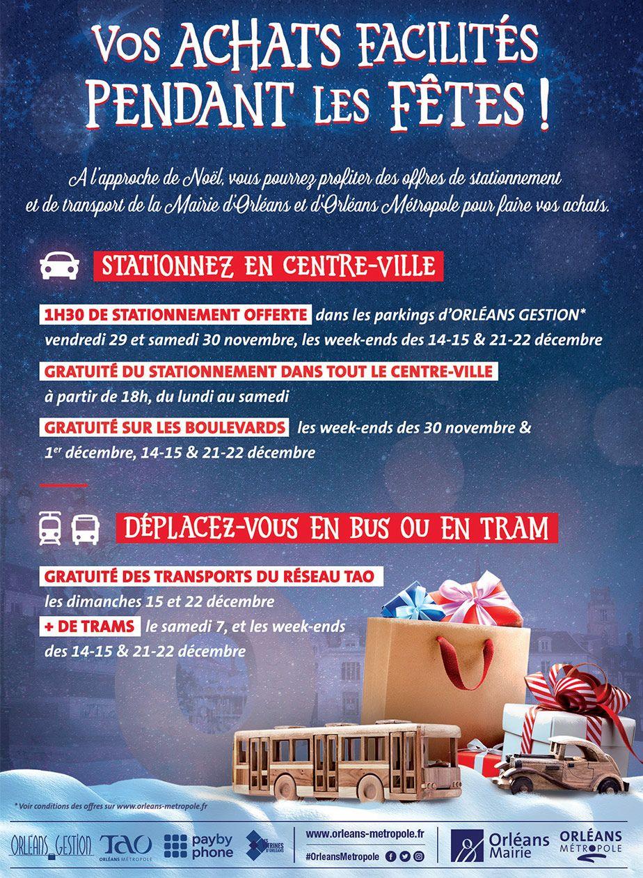 Transport en commun Gratuit (Bus et Tram) le 15/12 et le 22/12 + Stationnement Gratuit en Centre-Ville le soir en semaine - Orléans (45)