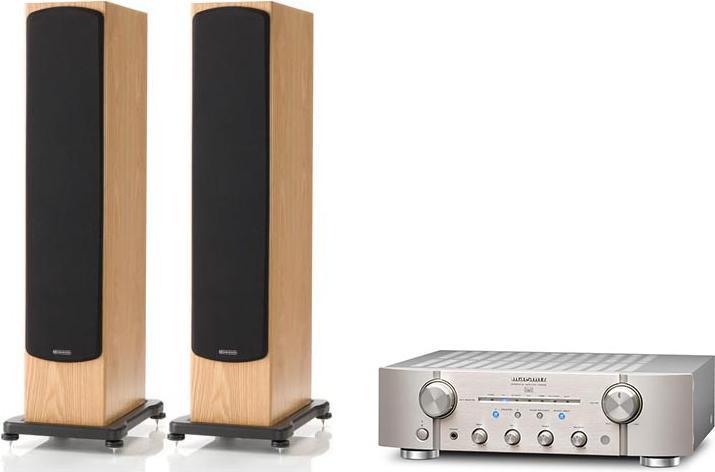 Paire de Monitor Audio Silver 8 Natural Oak + Ampli Marantz PM8005 silver gold