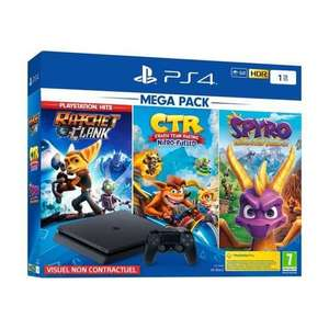 Console Sony PS4 Slim - 1 To + Crash Team Racing + Spyro Trilogy + Ratchet