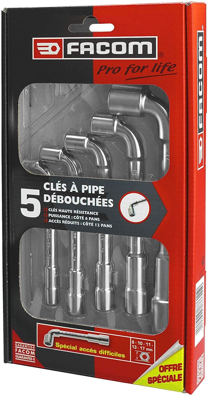 Coffret de 5 clés à pipe débouchées Facom PG.76