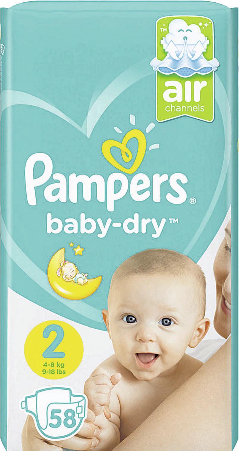 Pack de Couches Pampers Baby Dry en promo, Tailles et conditionnements au choix - Ex: Taille 2 (Via 10,08 € en bon d'achat + BDR)